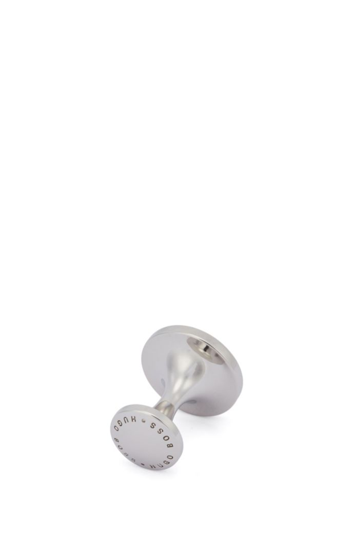 Round brass cufflinks with enamel core