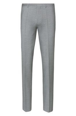 Extra slim-fit broek van scheerwol met dessin, Lichtgrijs