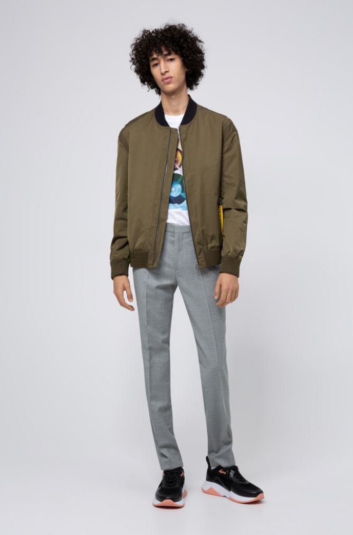Extra-slim-fit trousers in patterned virgin wool