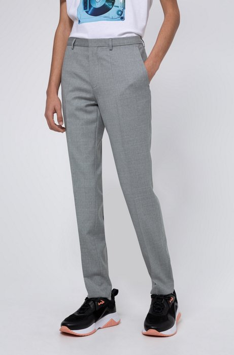 Extra-slim-fit trousers in patterned virgin wool, Light Grey