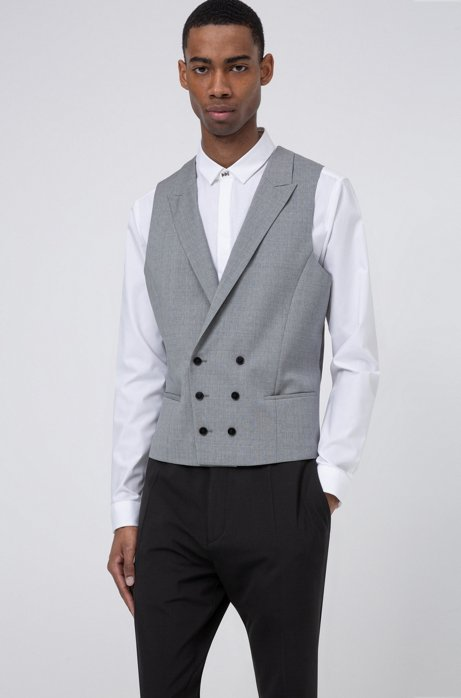 Extra-slim-fit double-breasted waistcoat in patterned wool, Open Grey