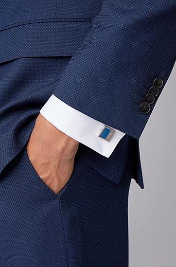 彩色珐琅嵌片方形袖扣,  449_水蓝色