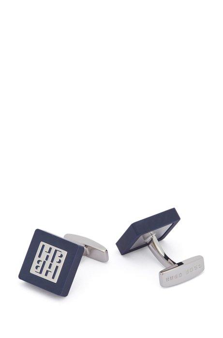 Gemelli quadrati in smalto opaco con monogramma della nuova stagione, Blu scuro