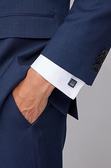 交织字母图案哑光珐琅方形袖扣,  410_海军蓝色