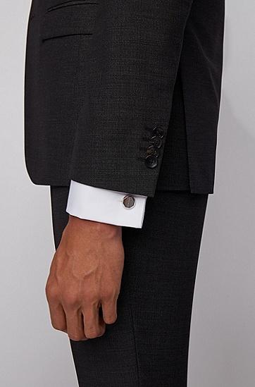 刻印徽标圆形刻面袖扣,  040_银灰色