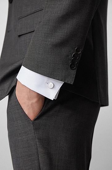 徽标饰边黄铜半球形袖扣,  040_银灰色