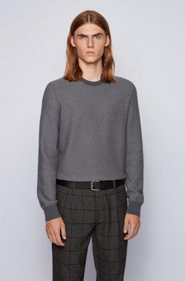 Regular-fit trui in een mix van katoen en kapok, Grijs