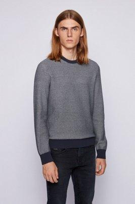 Regular-fit trui in een mix van katoen en kapok, Donkerblauw