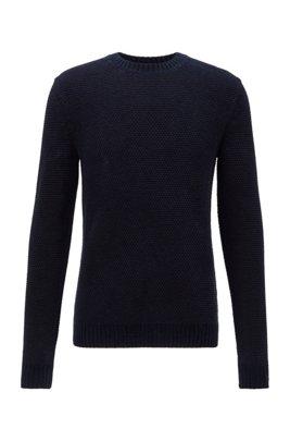 Regular-Fit Pullover aus Baumwoll-Mix mit 3D-Struktur, Dunkelblau