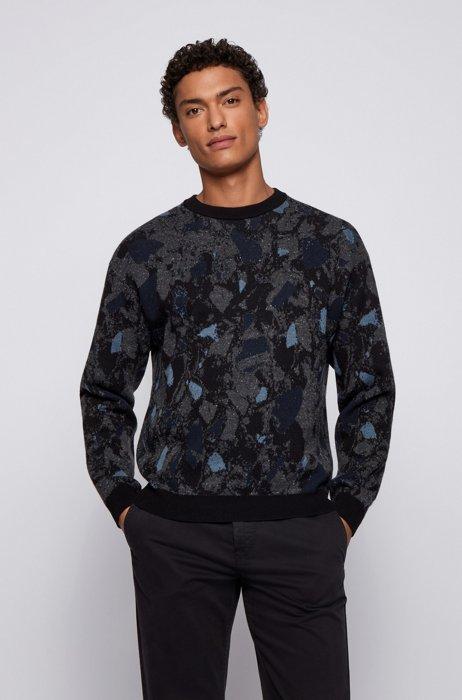 Terrazzo-jacquard sweater in cotton with wool and silk, Black