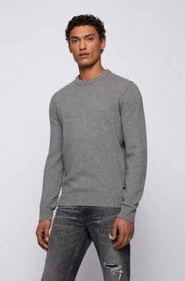 Knitted sweater with crew neckline, Grey