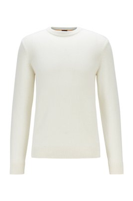 Knitted sweater with crew neckline, White
