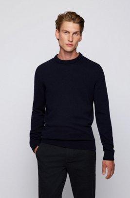 Knitted sweater with crew neckline, Dark Blue
