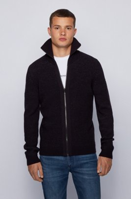 Turtleneck knitted jacket with zip-through front, Dark Blue