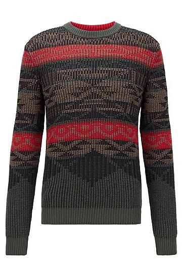 多彩针织提花编织图案装饰圆领毛衣,  346_淡绿色