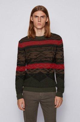 Pullover mit Rundhalsausschnitt und mehrfarbigem Jacquard-Dessin, Hellgrün