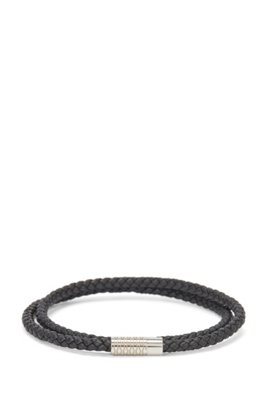 Double-wrap braided-leather cuff with monogrammed clasp, Black