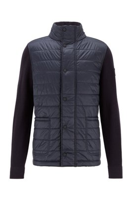 Knitted jacket with baffle-quilted front panel, Dark Blue