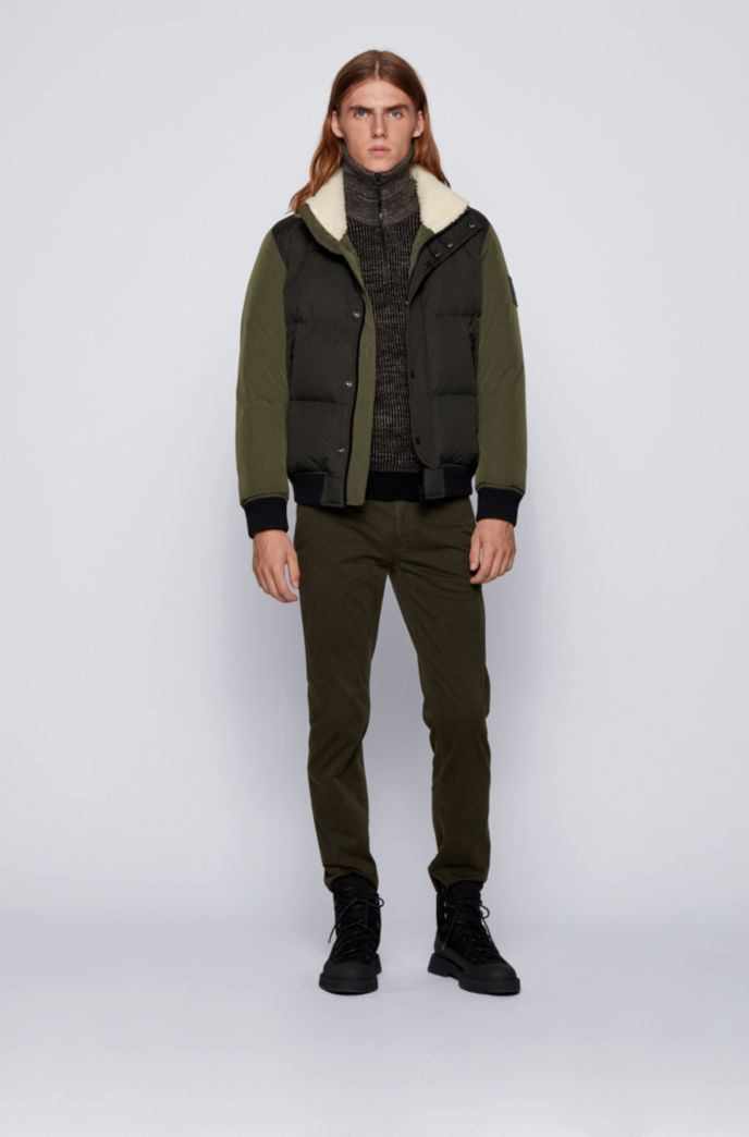 Turtleneck sweater in ribbed mouliné fabric with camouflage patches