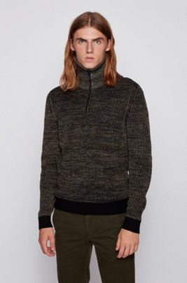 Turtleneck sweater in ribbed mouliné fabric with camouflage patches, Light Green
