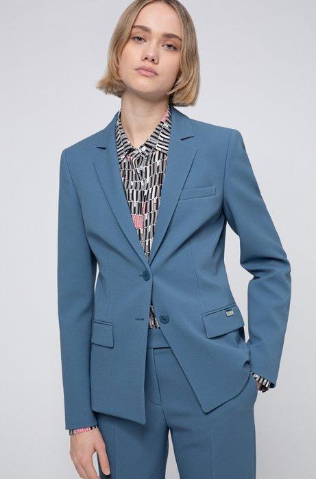Giacca regular fit in tessuto piqué, Blu scuro