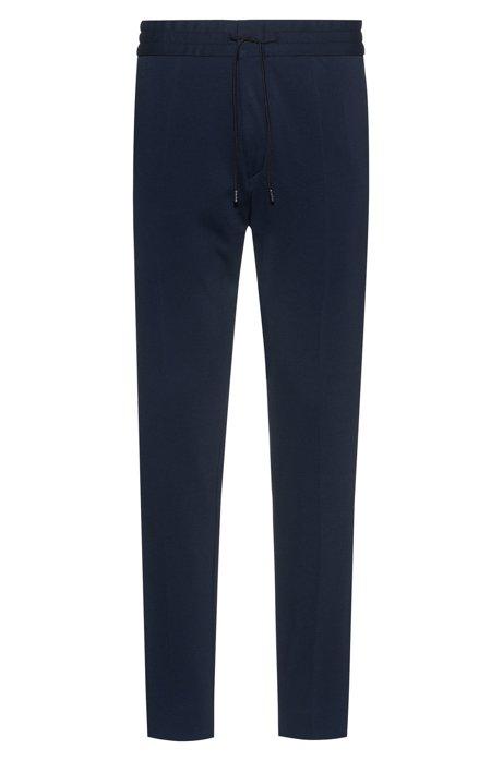 Tapered-fit broek van jersey met krijtstrepen en trekkoord, Donkerblauw