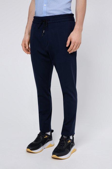 Pantaloni con fit affusolato in jersey gessato con coulisse, Blu scuro