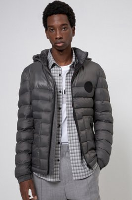 Slim-fit padded jacket with detachable logo-print hood, Dark Grey
