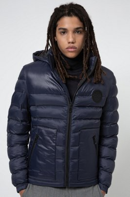 Slim-fit padded jacket with detachable logo-print hood, Dark Blue
