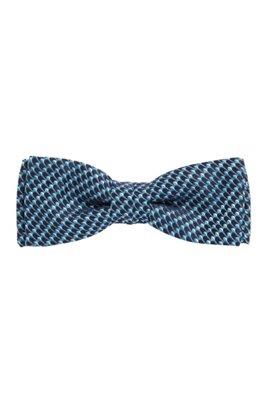 Italian-made bow tie in micro-patterned silk, Dark Blue