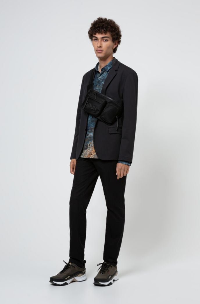 Packable slim-fit jacket with zipped pockets