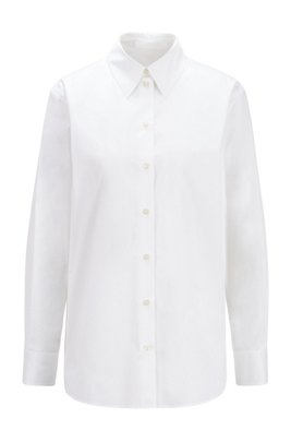 Regular-fit tailored blouse in paper-touch stretch cotton, White