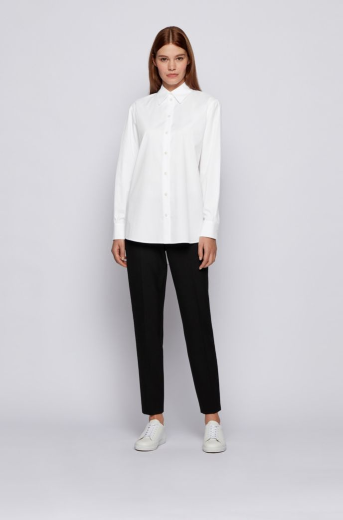 Regular-fit tailored blouse in paper-touch stretch cotton