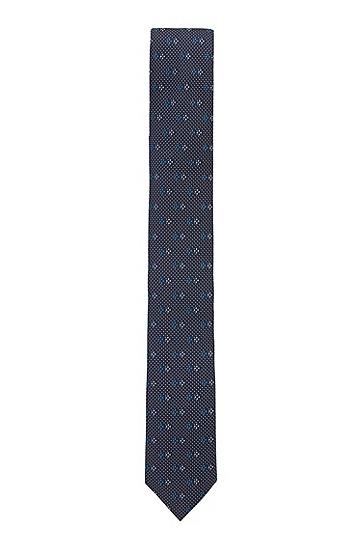 防水真丝提花图案装饰领带,  404_暗蓝色