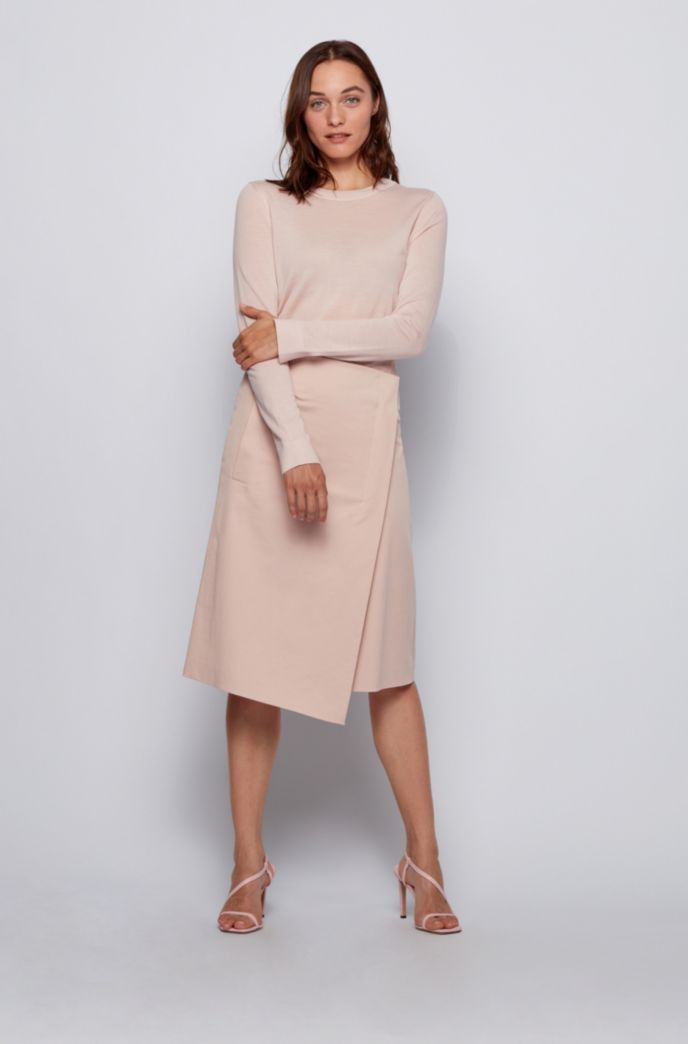 A-line wrap skirt in washed stretch cotton