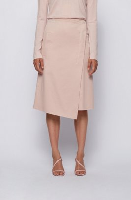 A-line wrap skirt in washed stretch cotton, light pink