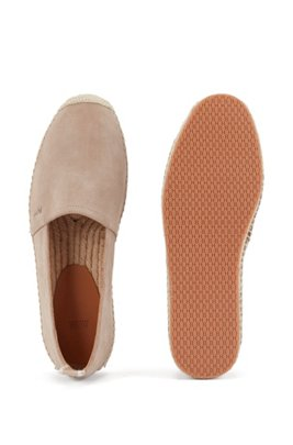 Slip-on espadrilles in suede with monogram outsole, Khaki