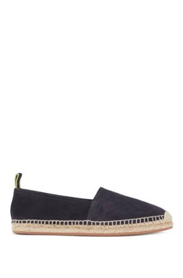 Slip-on espadrilles in suede with monogram outsole, Dark Blue