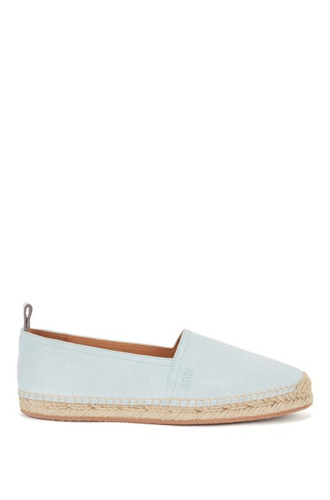 Slip-on espadrilles in suede with monogram outsole, Light Blue