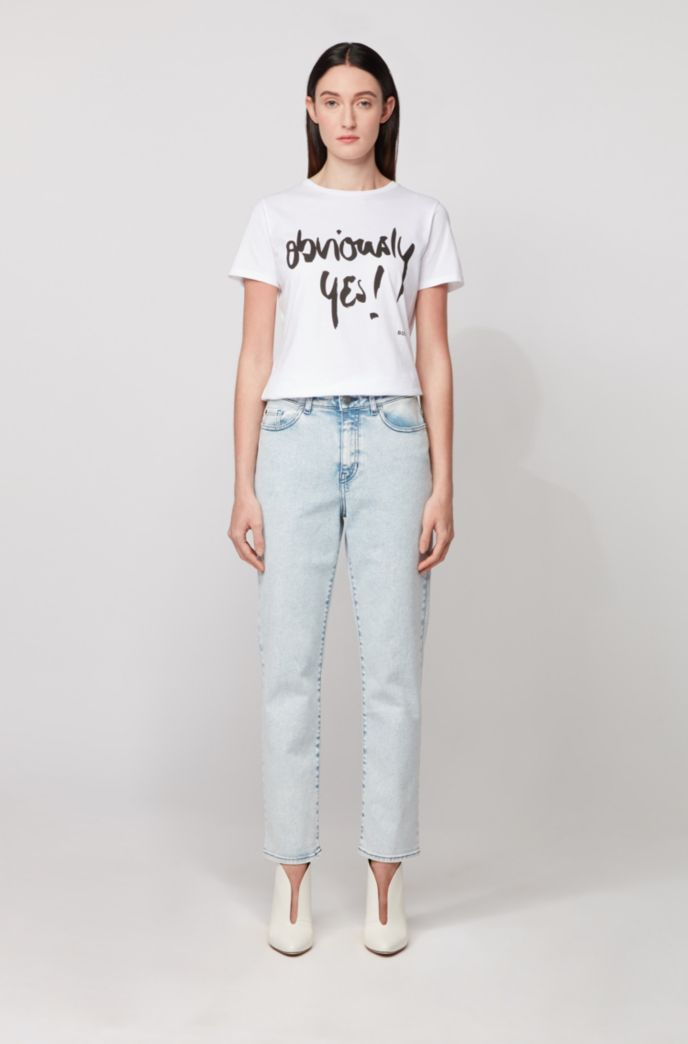 Crew-neck cotton T-shirt with handwritten slogan print
