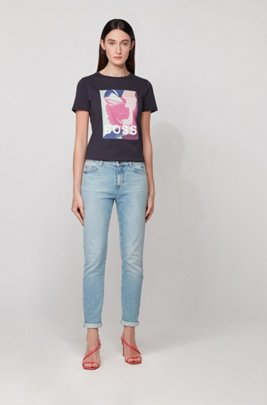 Cotton T-shirt with exclusive artwork and high-shine logo, Light Blue