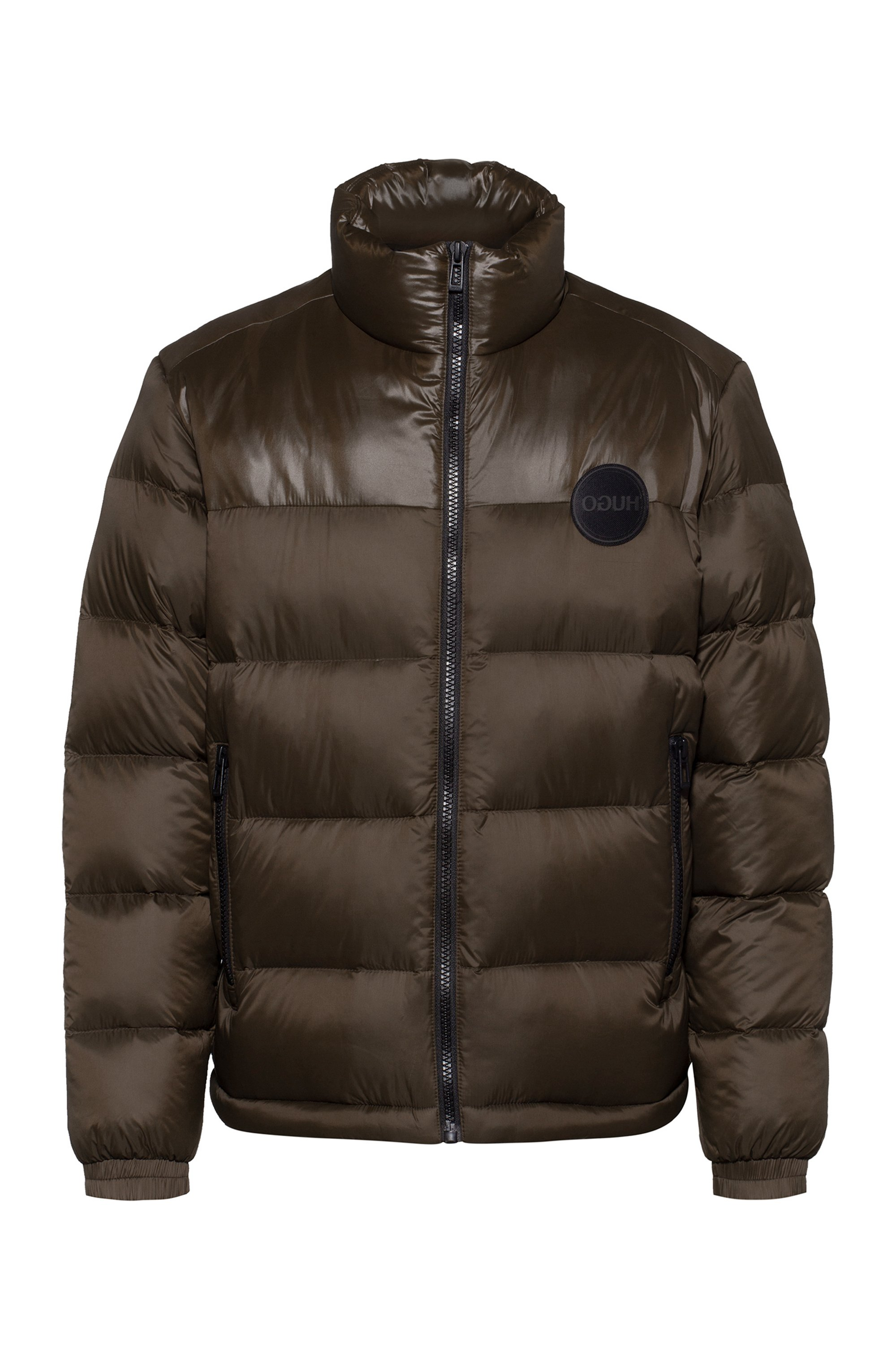 Baffle-quilted jacket with logo details, Dark Brown