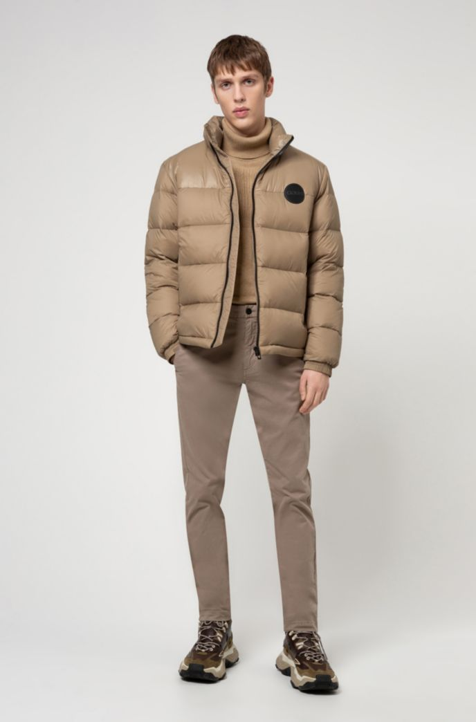 Baffle-quilted jacket with logo details