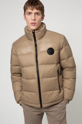 Baffle-quilted jacket with logo details, Beige