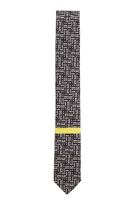 In Italië vervaardigde stropdas van zijde met monogramprint, Zwart