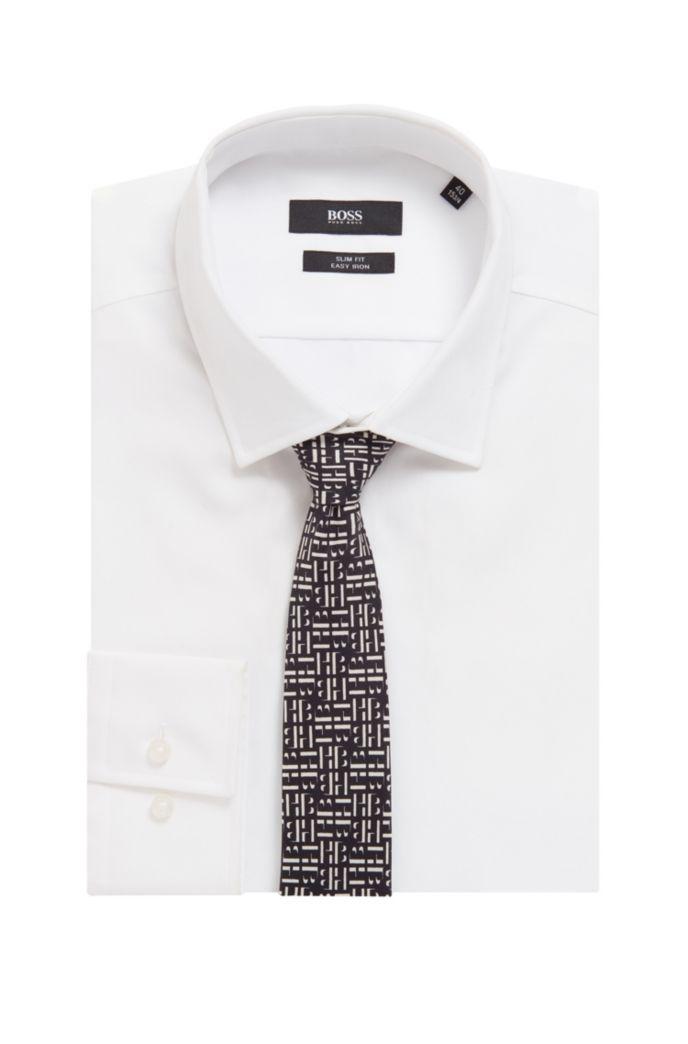 In Italië vervaardigde stropdas van zijde met monogramprint