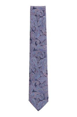 Paisley tie in silk jacquard, Dark Blue