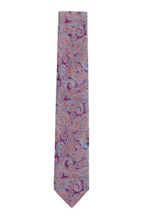 Cravatta in seta jacquard con motivo Paisley, Lilla