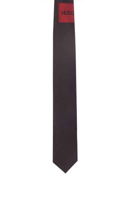 Krawatte aus reiner Seide mit Jacquard-Logo im Patch-Stil, Schwarz