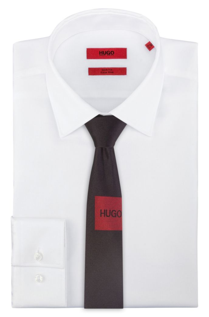 Pure-silk tie with patch-style jacquard logo
